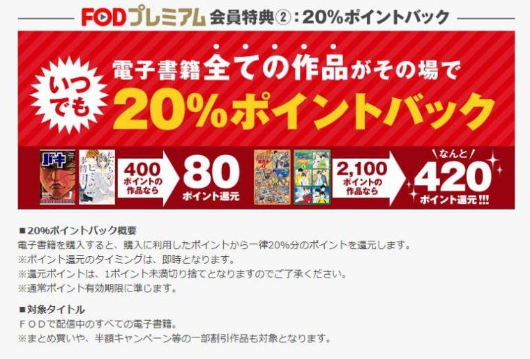 FODプレミアムマンガ20%ポイント還元画面